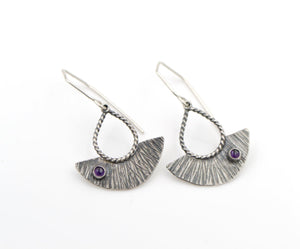 Hammered Amethyst Shield Drop Sterling Silver Earrings