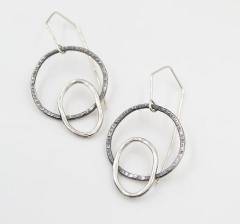 Sterling Silver Circle and Oval  Earrings