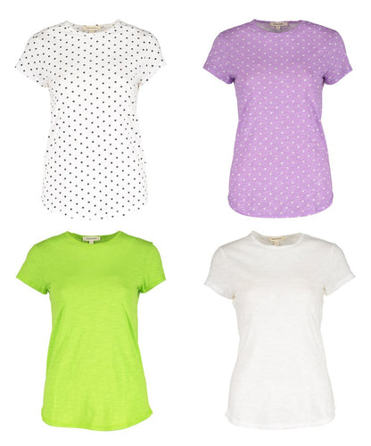 Urban Diction Multi-Color Polka-Dot Round Hem Crewneck Top Set Women & Plus