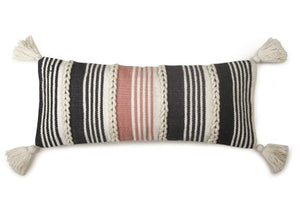 Braided Lumbar Pillow, Blush & Black