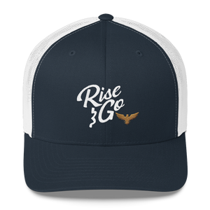 Find Your Coast Rise and Go Navy Trucker Hat with White Mesh