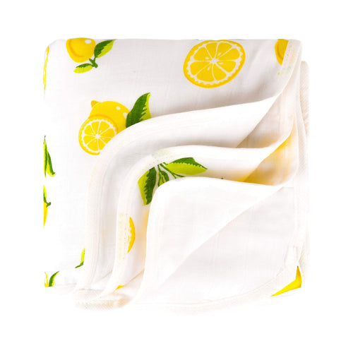 Bamboo 4 Layer Muslin Quilt, Softest Baby Toddler Blanket, Lemon