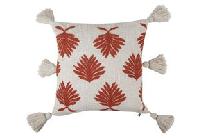 Hand Embroidered Petal Throw Pillow, Rust