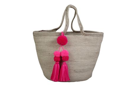 Beach Bag with long pink tassel - 12 x13 Inches