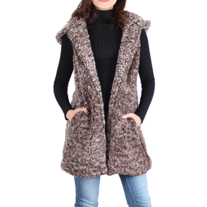 Brown Sherpa Open Front Hooded Sleeveless Vest