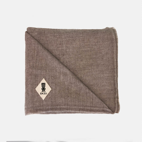 Blanket Cashmere - Brown Herringbone