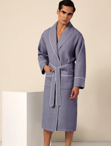 Men's Charcoal Luxury Long Waffle Bathrobe
