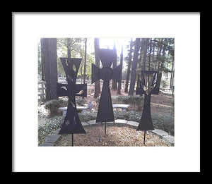 The Three Outdoor Crosses - Framed Print
