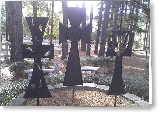 The Three Outdoor Crosses - Greeting Card