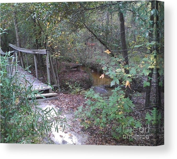 Awesome Waterfall Bridge Crossing - Canvas Print
