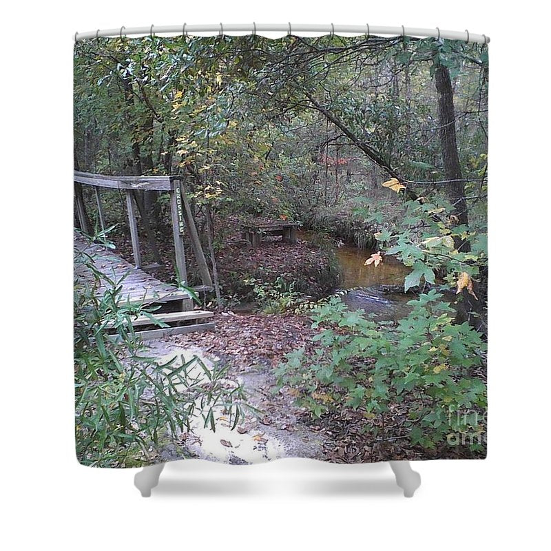 Awesome Waterfall Bridge Crossing - Shower Curtain