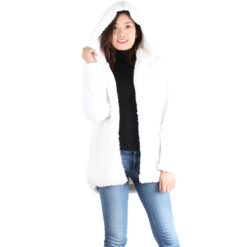 Ivory Sherpa Open Front Hooded Jacket, No Zipper