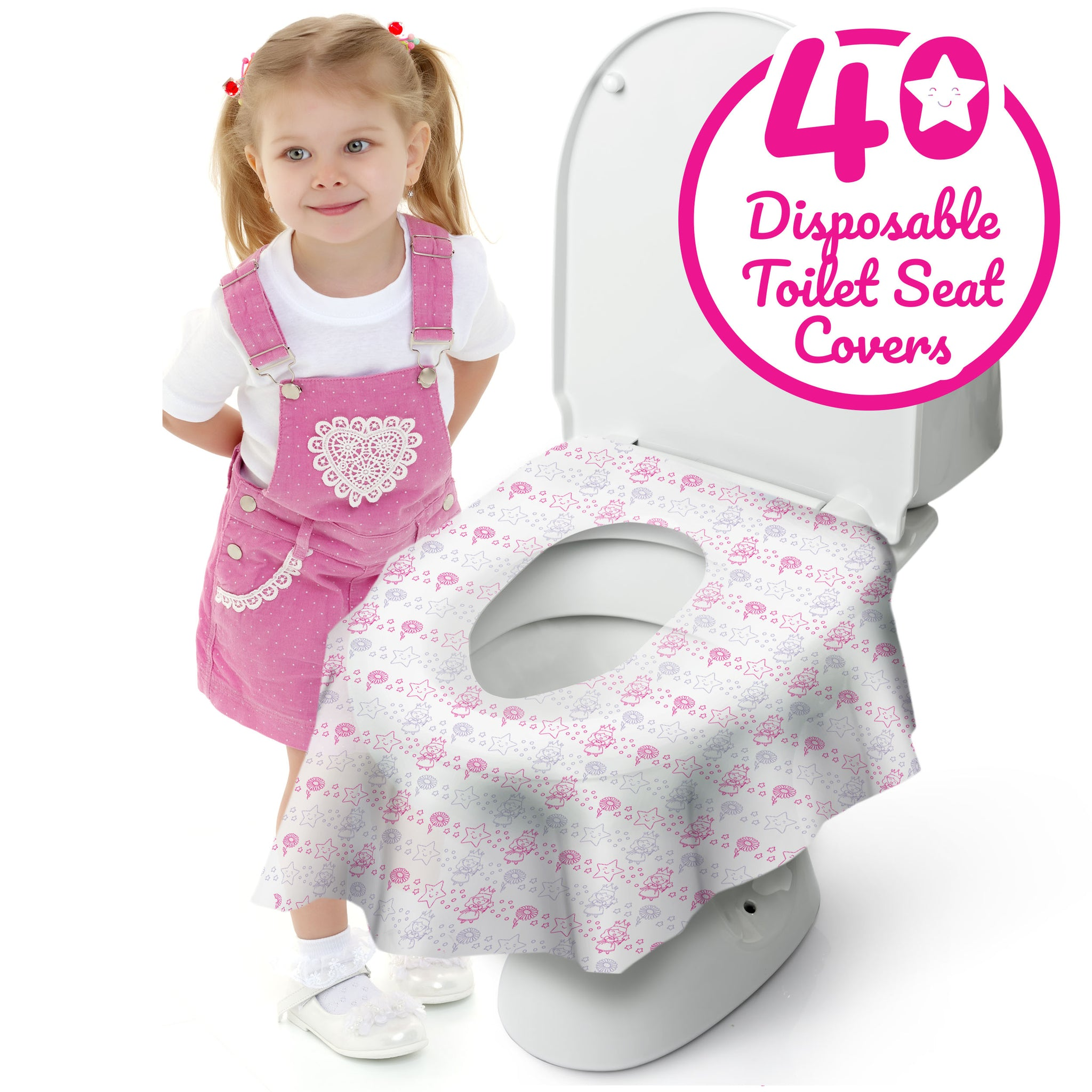 Paper Potty Seat Covers Individually Wrapped Waterproof Non Slip Circle Pattern for Adults Kids Toddlers Travel Toilet Seat Covers Disposable 20Pack