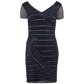Gina Bacconi Beaded Mesh Cocktail Dress- Navy