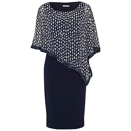 Gina Bacconi Dress With Printed Chiffon Cape- Spring Navy