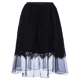 French Connection Spotlight Lace Flared Skirt- Black