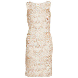 Gina Bacconi Tonal Floral Mesh Dress- Spring Butter