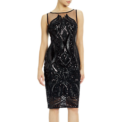 Adrianna Papell Petite Sequin Panel Illusion Cocktail Dress- Black