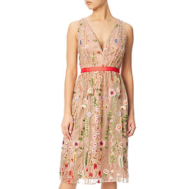 Adrianna Papell Embroidered Tulle Fit And Flare Prom Dress- Nude/Multi