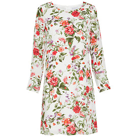Gina Bacconi Summer Garden Long Sleeve Chiffon Dress- Sage Red