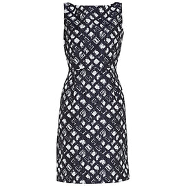 Gina Bacconi Geometric Jacquard Dress- Spring Navy