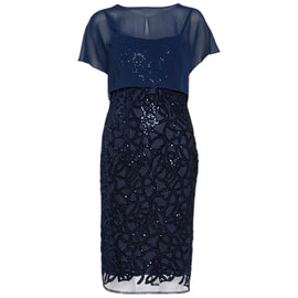 Gina Bacconi Sequin Dress And Chiffon Top- Spring Navy