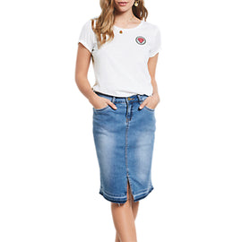 hush Denim Pencil Skirt- Denim