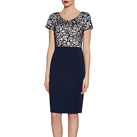 Gina Bacconi Embroidered Sequin Bodice Dress- Spring Navy