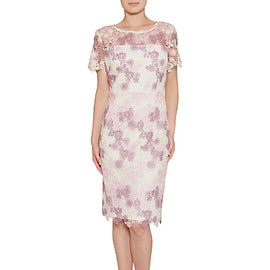 Gina Bacconi Dainty Three Tone Guipure Lace Dress- Summer Plum