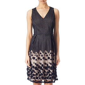 Adrianna Papell Pleated Plaid Dot Fit And Flare Dress- Navy/Pink