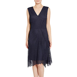 Gina Bacconi Doily Chemical Lace Dress- Spring Navy
