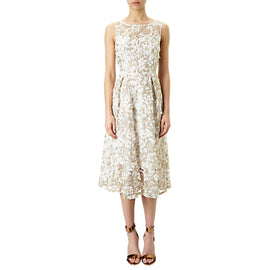 Adrianna Papell 3D Lace Fit And Flare Midi Dress- Ivory/Gold