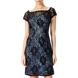 Adrianna Papell Lace Cocktail Dress- Black/Navy