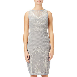 Adrianna Papell Beaded Illusion Cocktail Dress- Blue Heather/Nude