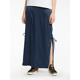 AND/OR Satin Maxi Tube Skirt- Navy