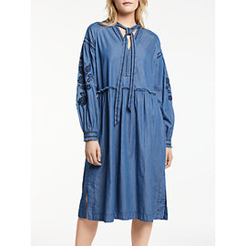 AND/OR Erin Embroidered Cotton Dress- Denim Blue