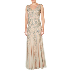 Adrianna Papell Sleeveless V-Neck Beaded Gown- Silver/Nude