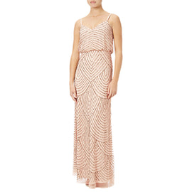 Adrianna Papell Petite Art Deco Beaded Blouson Gown- Blush/Gold
