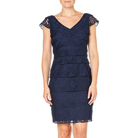 Adrianna Papell Shutter Tuck Lace Sheath Dress- Navy