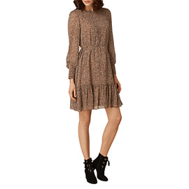 L.K. Bennett Dakota Short Printed Dress- Brown/Multi