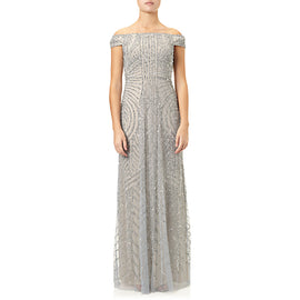 Adrianna Papell Off Shoulder Beaded Gown- Blue Heather/ Silver