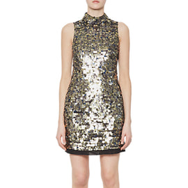 French Connection Sparkle Sleeveless Halterneck Dress- Moon Rock