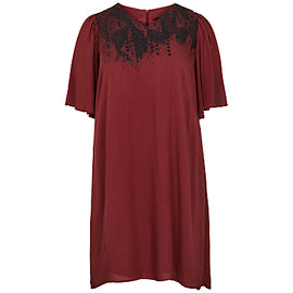 ADIA Front Print Short Sleeve Dress- Merlot
