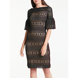Max Studio Lace Bardot Dress- Black