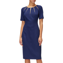 Adrianna Papell Satin Crepe Spliced Sheath Dress- Navy