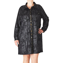 ADIA Faux Suede Shirt Dress- Black