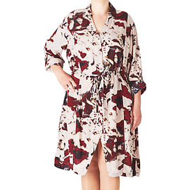 ADIA Printed Shirt Dress- Off White/Merlot