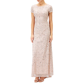Adrianna Papell Petite Scoop Back Sequin Evening Dress- Blush