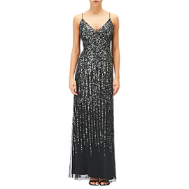 Adrianna Papell Sequin Evening Dress- Black