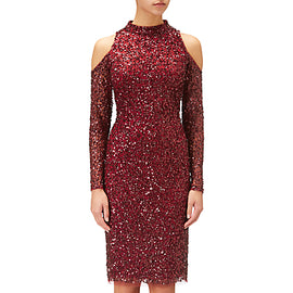 Adrianna Papell Short Beaded Cocktail Dress- Cranberry